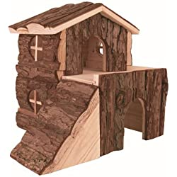 Trixie Pet Products Bjork Natural Wood 2 Story House Md 8 x 7 x 8 Inch