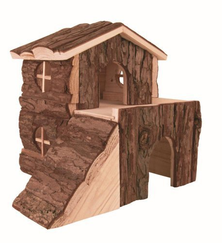 Pet Products Wood (Trixie Pet Products Bjork Natural Wood 2 Story House Md 8 x 7 x 8 Inch)