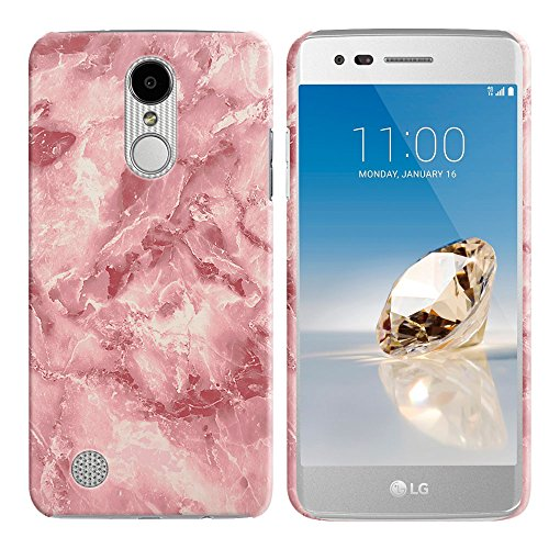FINCIBO Case Compatible with LG Aristo MS210 LV3 K8 2017 Phoenix 3 M150 Fortune, Back Cover Hard Plastic Protector Case Stylish Design for LG Aristo MS210 (NOT FIT K8 2016) - Salmon Pink Marble