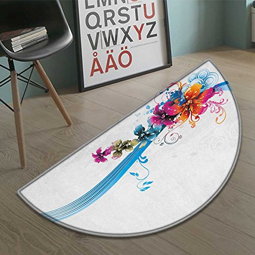 homefeel Floral door mat indoors Abstract Fantasy Blossoms Border Colorful and Grunge Display Spring Leaves Swirls Customize Bath Mat with Non Slip Backing Multicolor (Fantasy Border)