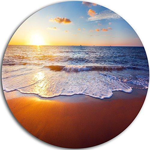 """Designart MT10641 C38 Stunning Blue Waves & Brown Sand Beach Round Wall Art Disc, 38"""" x 38"""", Gold/Orange"""