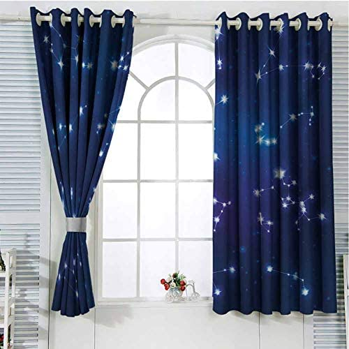 hengshu Constellation Eclipse Blackout Curtains for Bedroom Realistic Celestial Gemini Leo Pisces Sagittarius Galactic Living Room Curtains for Bedroom W72 x L84 Inch Dark Blue Pale Blue Purple