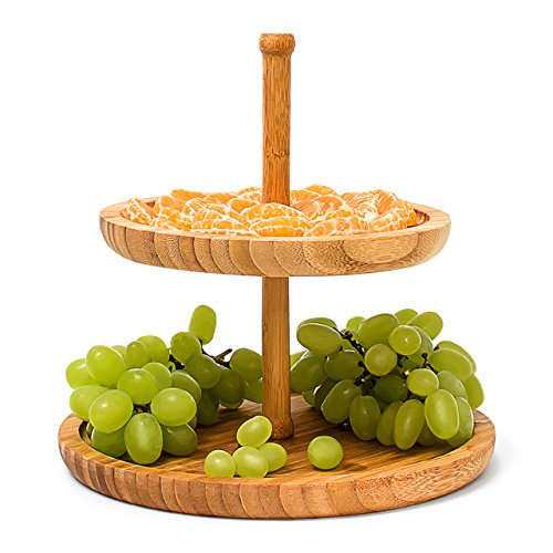 Relaxdays Bamboo Etagere 25 cm x 25 cm Fruit Etagere Wooden With 2 Round Plates For Snacks, Sweets, Baked Goods, Nuts, Etc, Fruit Serving Tray Serving Plate Afternoon Tea Stand 2-Tier, Natural