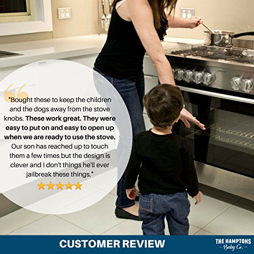 Clear Stove Knob Safety Covers for Gas Stove (5 Pack) Child Safety Guards for Fire Protection, Large Universal Design - Baby Proofing Your Oven Knob Cover & Child Proof Kitchen by The Hamptons Baby by The Hamptons Baby (Image #6)