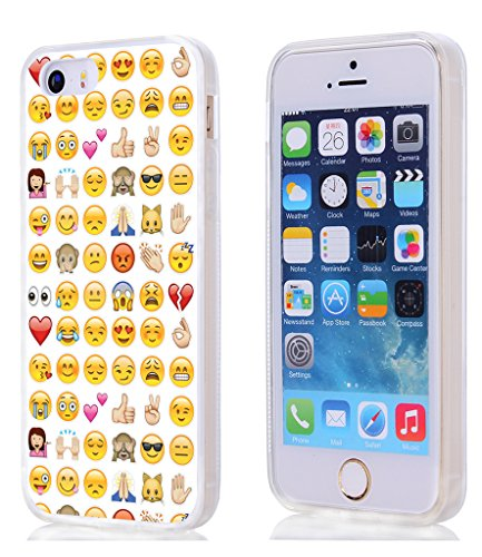 Case for iPhone SE & Cover for 5S & MUQR Replacement Skin Rubber Gel Silicone Slim Drop Proof Protection Protector Compatible for iPhone 5S/5/SE & Funny Personalized Emoji Pattern