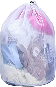 Kitcal XL Mesh Laundry Bag with Drawstring, Heavy Duty Extra Large Mesh Laundry Drawstring Bag for Travel, College, Dorm, Apartment, Motel, Family, Machine Washable, 24 in x 32 in
