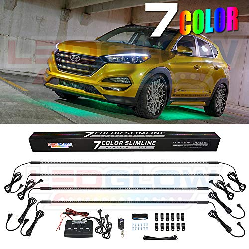LEDGlow 4pc Multi-Color Slimline LED Underbody Underglow Accent Neon Lighting Kit for Cars - 7 Solid Colors - 18 Unique Patterns - Music Mode - Water Resistant Tubes - Includes ()