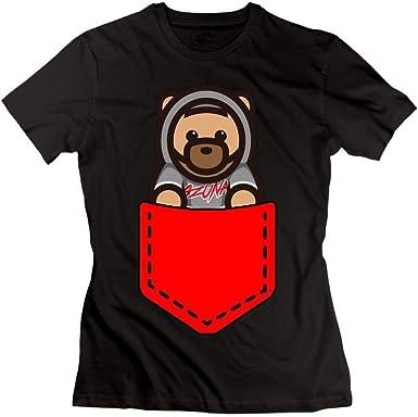 Camiseta Ozuna Bear Logo Mujer Algodón Manga Corta Negro: Amazon ...
