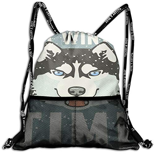 (Drawstring Backpacks Bags,Its Winter Time Retro Poster Dog Face Falling Snowflakes,Adjustable)