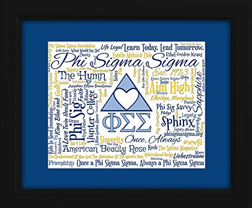 Phi Sigma Sigma Sorority 16x20 Art Piece - Beautifully matted and framed behind glass - Phi Sigma Glass