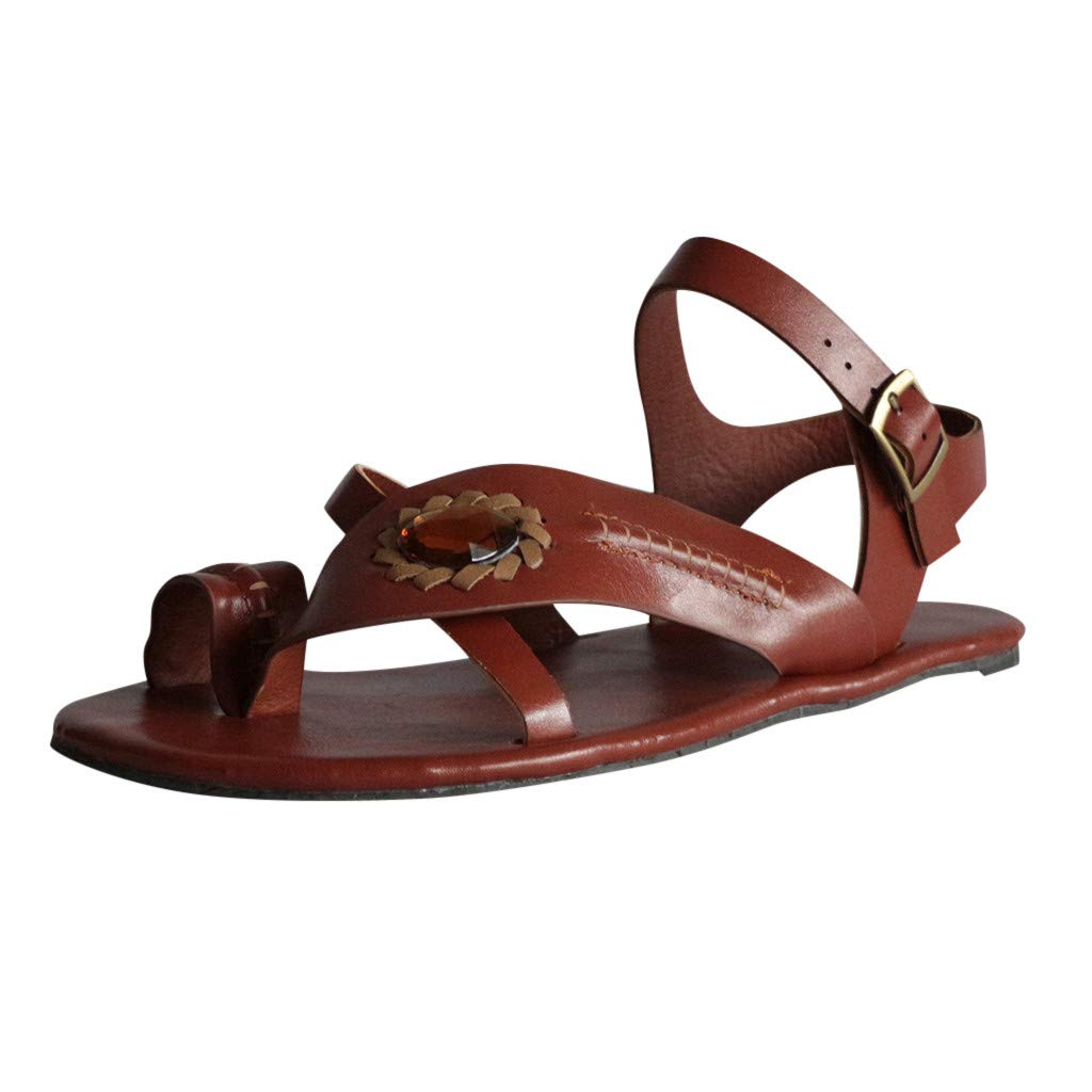 Womens Vintage Summer Open Toe Crystal Flats Shoes Ladies Strap Buckle Outdoor Beach Cool Feel Shoes Roman Soft Retro Sandals (Brown, US:8)
