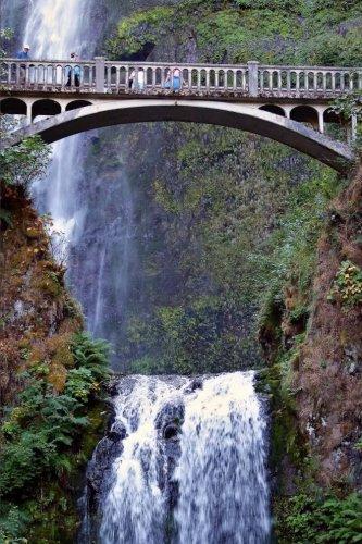 A View of the Bridge and Multnomah Falls Waterfall  Oregon