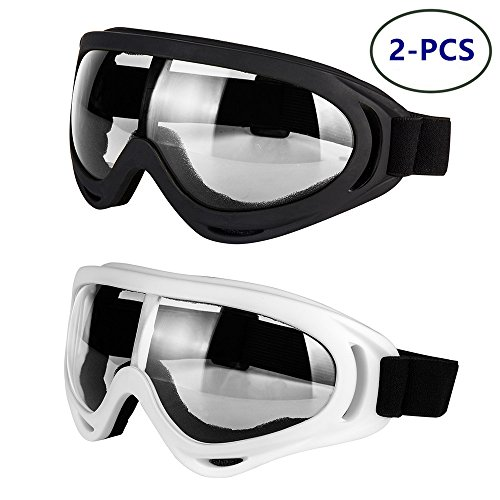 - LJDJ Motorcycle Goggles - Glasses Set of 2 - Dirt Bike ATV Motocross Anti-UV Adjustable Riding Offroad Protective Combat Tactical Military Goggles for Men Women Kids Youth Adult