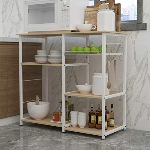 sogesfurniture 3-Tier Kitchen Baker's Rack Utility Shelf Microwave Stand with Storage and Drawer Storage Cart Workstation Shelf,White Maple BHUS-W5S-M