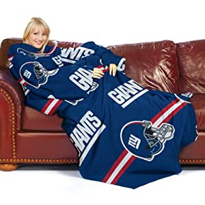 NFL New York Giants Comfy Throw Blanket with Sleeves, Stripes Design
