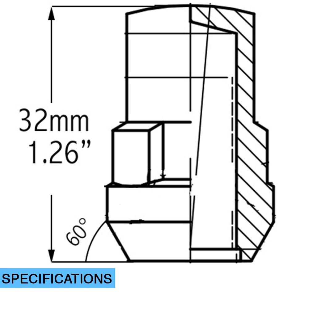 14x1.50 Thread Size Set of 4 with Dual Hex Key Wheel Accessories Parts 5559172319 Bulge Acorn Wheel Lock Set M14 x 1.50