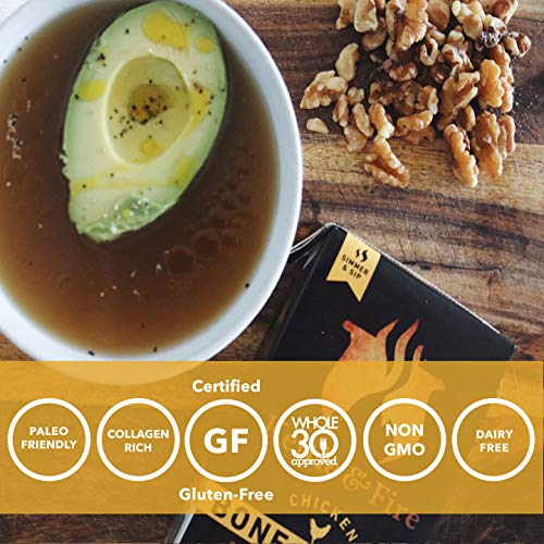 Chicken Bone Broth Soup by Kettle and Fire, Pack of 6, Keto Diet, Paleo Friendly, Whole 30 Approved, Gluten Free, with Collagen, 10g of protein, 16.2 fl oz