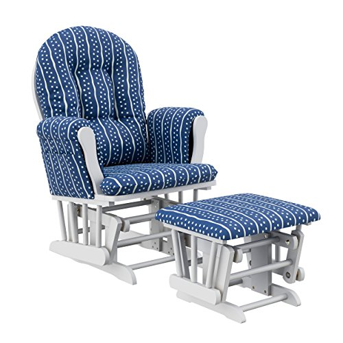 Storkcraft Hoop Glider and Ottoman, White/Blue Shoreline