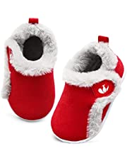 JOINFREE Baby Boys Girls Winter Shoes Warm Faux Fur Lining Infant Home Shoes Non-Slip First Walking Winter Slippers