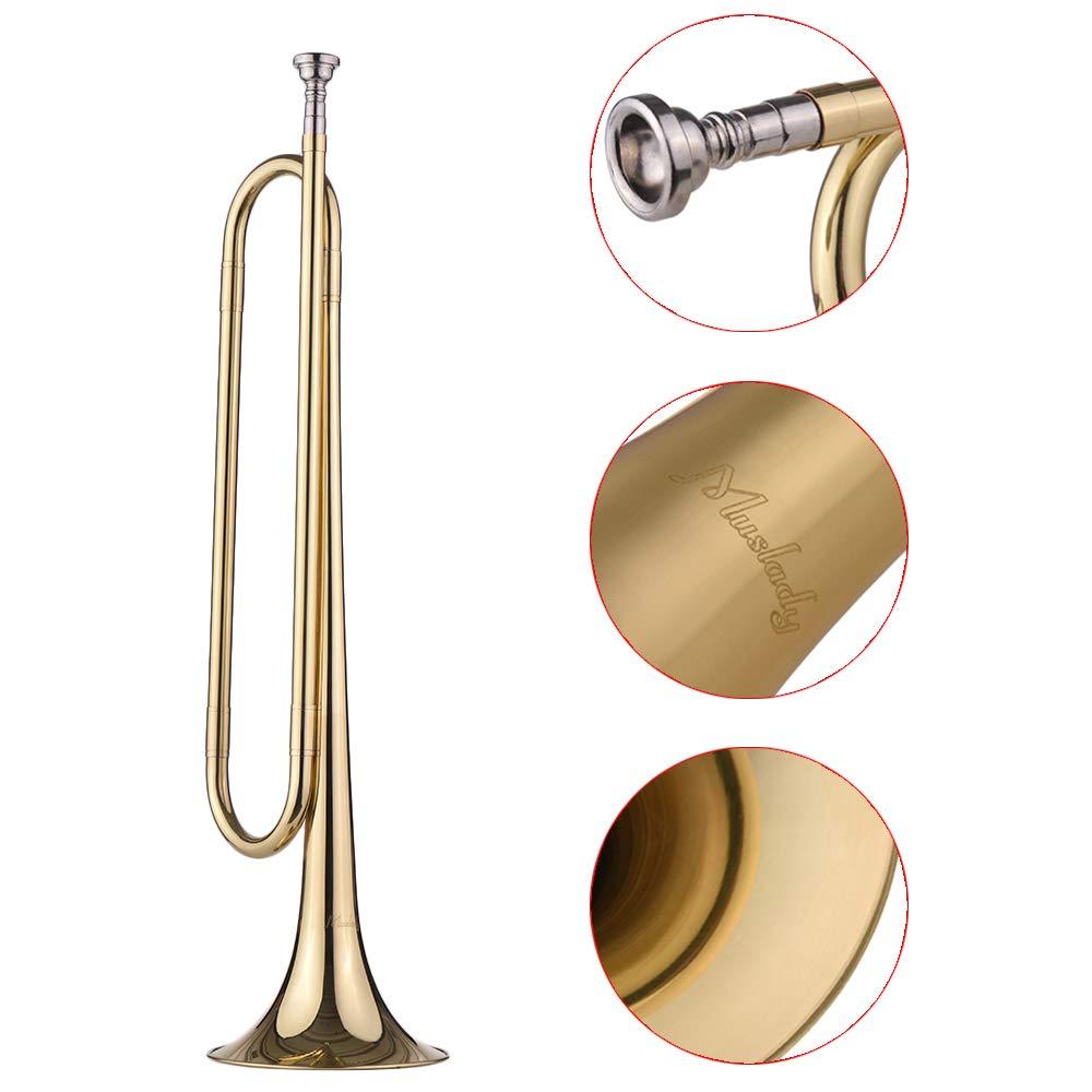 Festnight Muslady B Flat Bugle Call Trompeta Material de lat/ón con boquilla para la banda de la escuela Caballer/ía Principiante Militar Orquesta