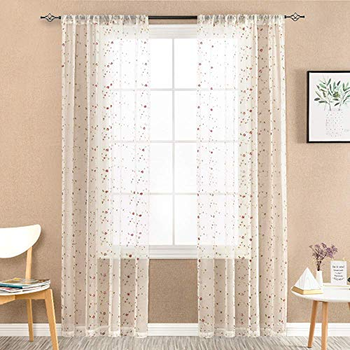 Ivory Sheer Floral Embroidered Sheer Curtains Panel Pairs 63 Inch Length Semi Sheer Embroidery Voile Drapery for Living Room Rod Pocket Window Curtain Panel Pairs Set for Bedroom (2 Panels) (Embroidered Curtains Voile)