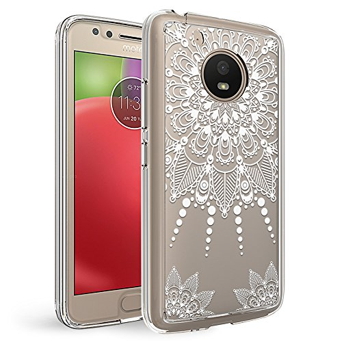Motorola Moto E4 Plus Case, Moto E4 Plus Clear Case, MISS ARTS White Henna Mandala Floral Shock Absorption TPU + Scratch Resistant Clear Protective Cases Hard Cover -Mandala Flower