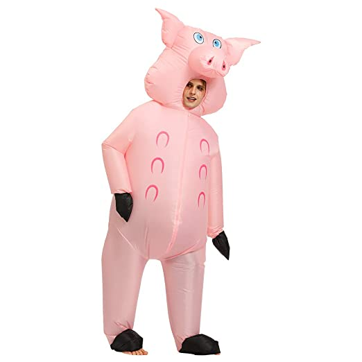 Lim Disfraz Hinchable Cerdo Rosado Poliéster Impermeable ...