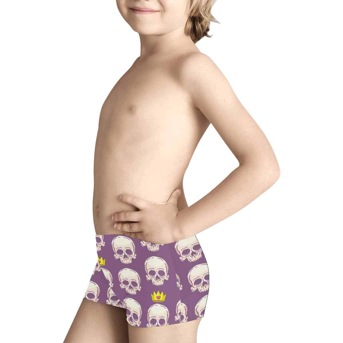 INTERESTPRINT Boys Skulls and Crowns Purple Boxer Brief Underwear 5T-2XL