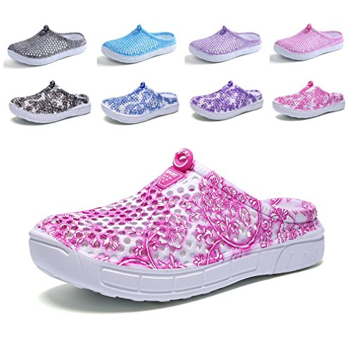 CN-Porter Unisex Womens Men's Breathable Mesh Sandals,Garden Clog Shoes,Beach Footwear,Anti-Slip,Water Shoes Pattern Pink