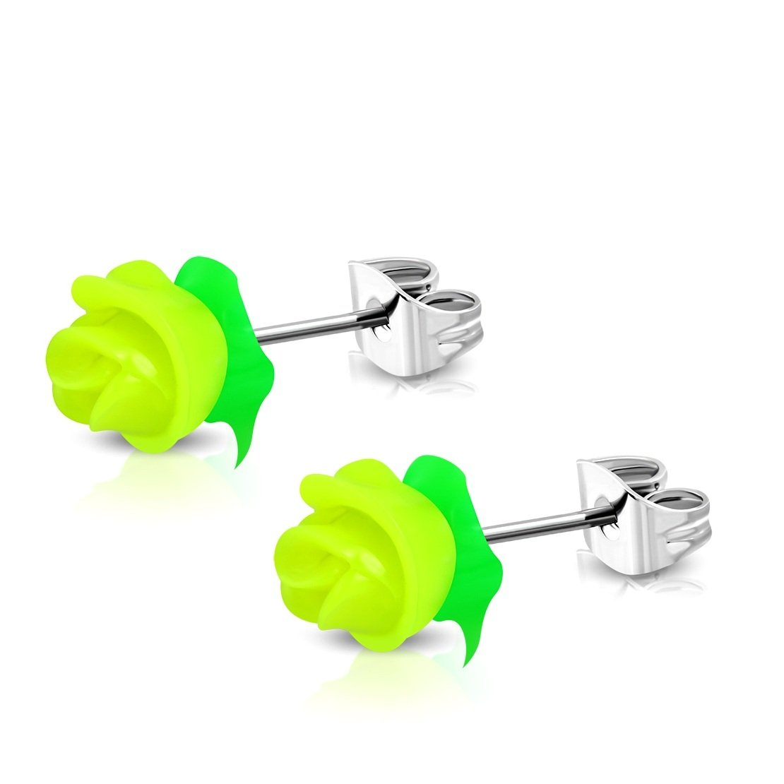 pair Stainless Steel with Yellow Rubber Rose Flower Stud Earrings