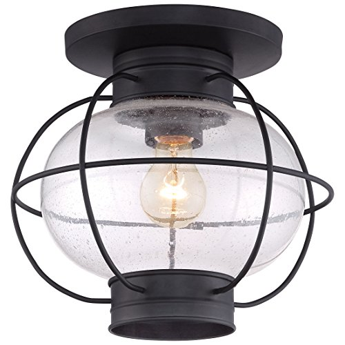 Quoizel COR1611K Cooper Outdoor Flush Mount Lantern, 1-Light, 100 Watts, Mystic Black (11