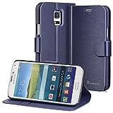 GreatShield® Samsung Galaxy S5 mini Case [SHIFT LX] Draw Bench PU Leather Wallet Flip Stand Case Cover with [Card Pockets] for Samsung Galaxy S5 mini (Oxford Blue)