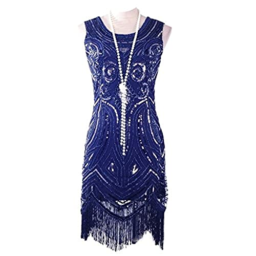 Vijiv Womens 1920s Vintage Gatsby Bead Sequin Art Nouveau Deco Flapper Dress, Medium, Navy Blue