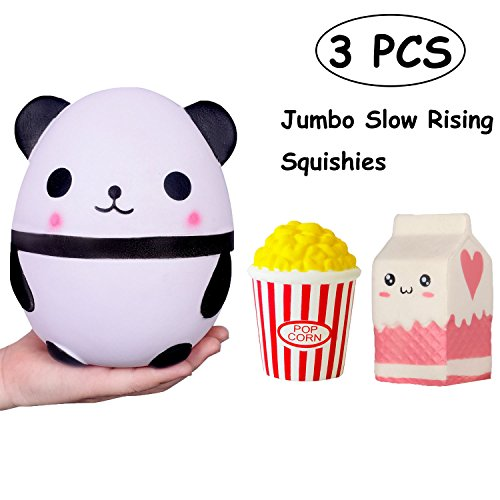 TOYHUYI Pack of 3 Jumbo Slow Rising Squishies Kawaii Popcorn Milk Box Panda Charms Scented Squeeze Toy, Stress Relief Toy For Fun