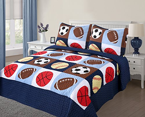 Golden Linens 3 pieces Full Size Quilt Bedspread Set Kids Sports Basketball Football Baseball For Boys & Girls (Full)