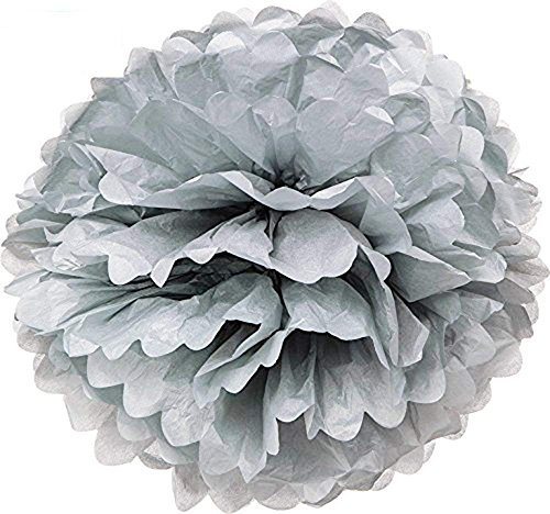 Hmxpls 10pcs Silver Tissue Hanging Paper Pom-poms, Flower Ball Wedding Party Outdoor Decoration Premium Tissue Paper Pom Pom Flowers Craft Kit