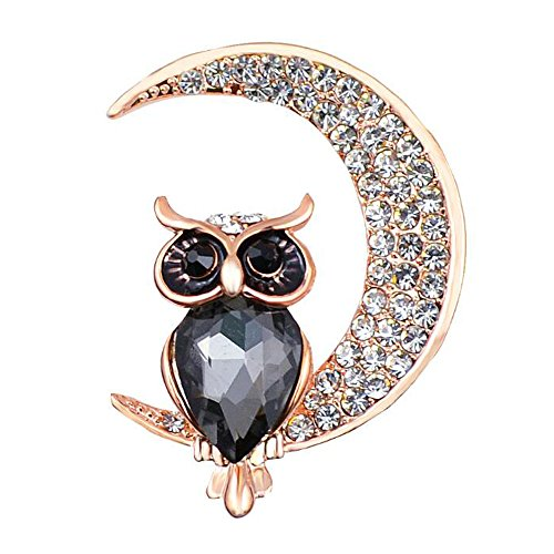 Luck Wang Woman Fashion Unique Temperament Owl Moon Brooch To The Best Gift of Love(Black)