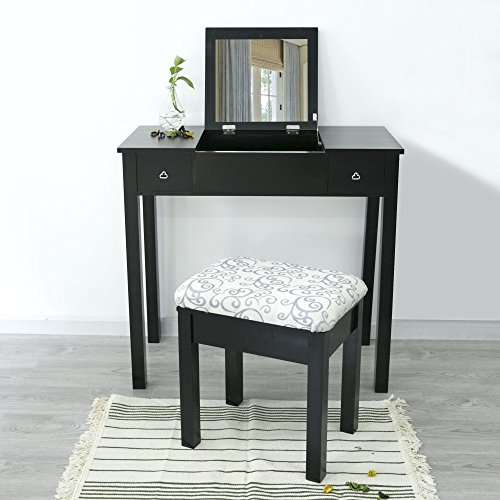 Cloud Mountain Vanity Table Set Makeup Flip-top Mirrored Dressing Table Set, Black