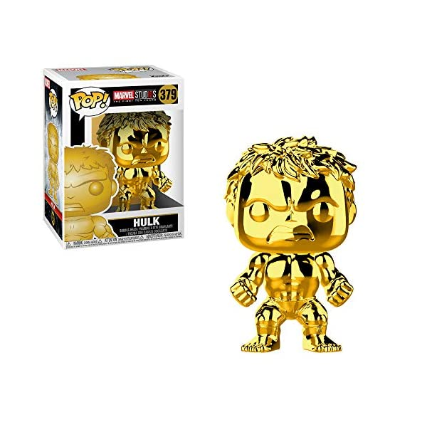 51LQfXwZ78L Funko Marvel: Pop! Marvel Studios 10 Gold Chrome Collectors Set 3 - Groot, Hulk, Thor, Gamora Toy