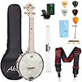 AKLOT Banjo Ukulele Concert 23 inch Remo Drumhead Open Back Maple Body 1:18 Advanced Tuner with Two Way Truss Rod Gig Bag Tuner String Strap Picks …