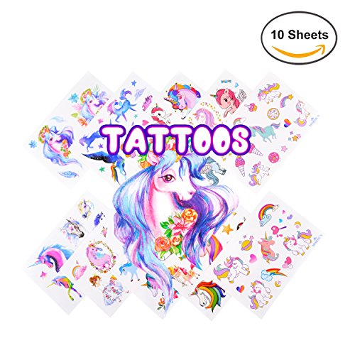 Favors Temporary Tattoos Stickers 10 Sheets for Kids Girls Boys Birthday Toddlers Baby Showers (Free Flash Tattoos)