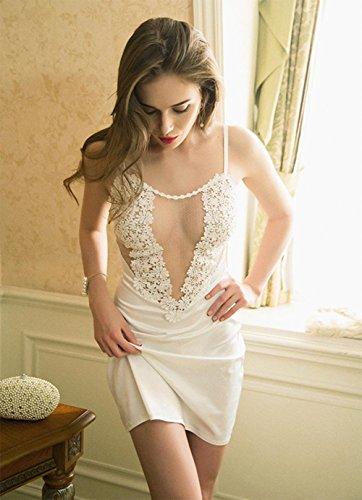 Sra. Pijama de verano honda de la ropa interior pijamas sin mangas de encaje transparente , 170 (xl) , white