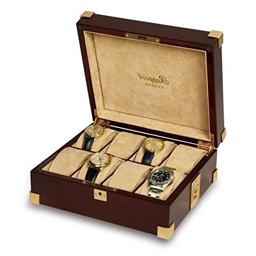 Rapport London Captain's Collector 8 Watch Box, Polished Mahogany by Allurez