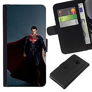 """A-type (S Superhéroe"""") Colorida Impresión Funda Cuero Monedero Caja Bolsa Cubierta Caja Piel Card Slots Para HTC One M7"""