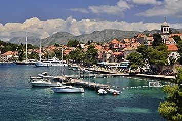 amazon クロアチアmarinas yacht cavtat都市景色風景ファブリック