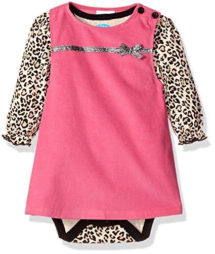 Bon Bebe Baby Girls' 2 Piece Corduroy Jumper Set with Longsleeve Lap Shoulder Bodysuit-Newborn, Leopard, 3-6 Months