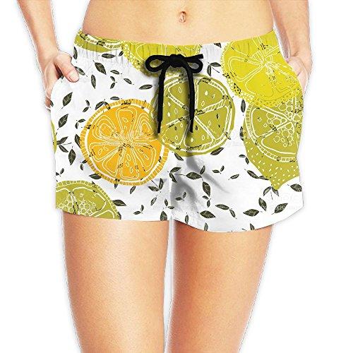Women's Shorts Cool Lemons Fruits- Casual Sport Waistband Swimsuit Mesh Swimming Summer Boardshorts