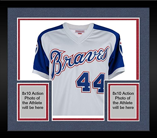 Framed Hank Aaron Atlanta Braves Autographed Mitchell & Ness Blue an White 1974 Throwback Jersey - Fanatics Authentic (Authentic Throwback White Jersey)