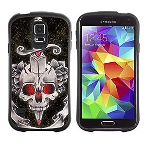 LASTONE PHONE CASE / Suave Silicona Caso Carcasa de Caucho Funda para Samsung Galaxy S5 SM-G900 / Rock Roll Fire Dagger Skull Death Music