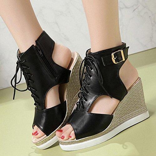 Sandales Chaussures Compensees Black Femmes RAZAMAZA PqRFYwB